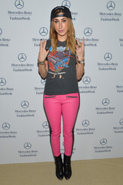 Lauren Rae Levy opted for a casual, edgy look with a pair of pink leather skinnies and a cutoff tee when she visited the Mercedes-Benz Star Lounge.