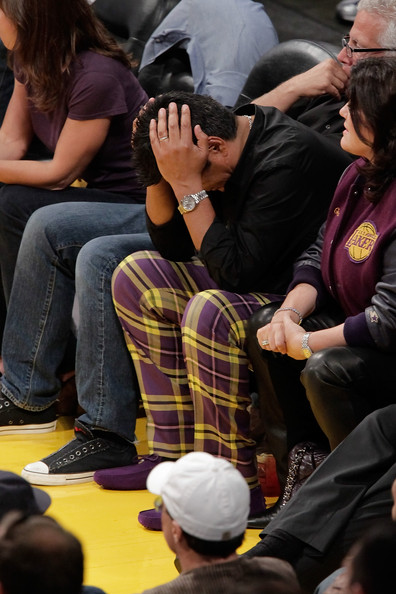 George Lopez Slacks [yellow,youth,design,event,crowd,pattern,audience,recreation,competition event,tartan,game,playoff finals,playoff,los angeles lakers,nba,boston celtics,celebrities,game seven,c,george lopez]