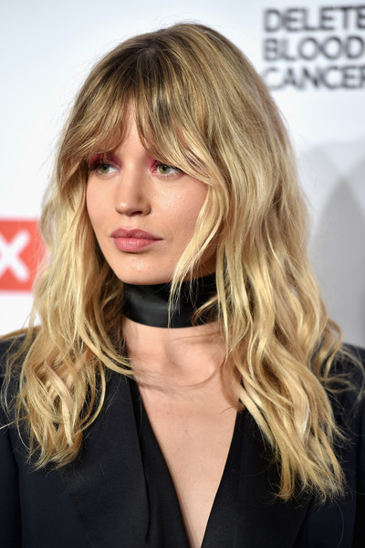 Georgia May Jagger Long Wavy Cut with Bangs