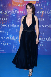 Juliette Binoche looked agelessly glam in a deep-V midnight-blue velvet halter dress by Dior during the Paris premiere of 'Ghost in the Shell.'