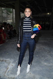 Helena Bordon splashed on some color with a rainbow fur purse by Les Petit Joueurs.