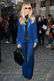 Rachel Zoe showed off her style prowess in a bright blue satin-trimmed pantsuit in Paris.