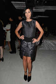 Leigh Lezark's black ankle-strap pumps finished off her look in edgy style.