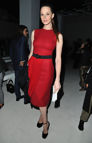 Elettra Wiedemann finished off her super-chic look with a pair of black ankle-strap platform pumps.