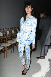 Caroline Sieber looked darling in a blue and white floral peplum pantsuit by Giambattista Valli Couture during the label's fashion show.
