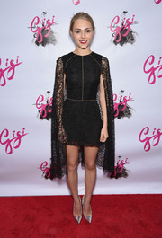 AnnaSophia Robb went for dramatic elegance in a caped lace LBD by Sophia Kah during the Broadway opening of 'Gigi.'