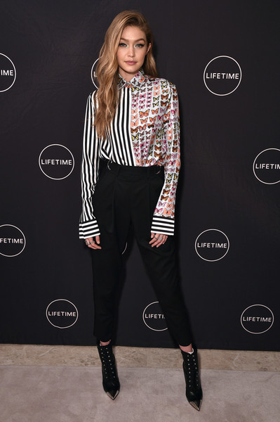 Gigi Hadid Lace Up Boots [making a model with yolanda hadid,the premiere of her new lifetime show,show,clothing,fashion model,footwear,fashion,shoulder,flooring,leggings,catwalk,joint,tights,yolanda hadid celebrates her birthday,yolanda hadid,friends and family in new york,gigi hadid,new york,birthday,premiere]