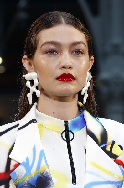 Gigi Hadid Dangle Decorative Earrings [menswear spring summer 2020,hair,eyebrow,fashion,lip,hairstyle,fashion show,ear,gigi hadid,spring,off-white,part,runway,us,paris,paris fashion week,show]