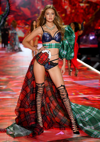 Gigi Hadid Lace-Up Heels [fashion model,fashion show,runway,fashion,model,catwalk,lingerie,fashion design,abdomen,thigh,gigi hadid,victorias secret fashion show,new york,runway,runway,pier 94]