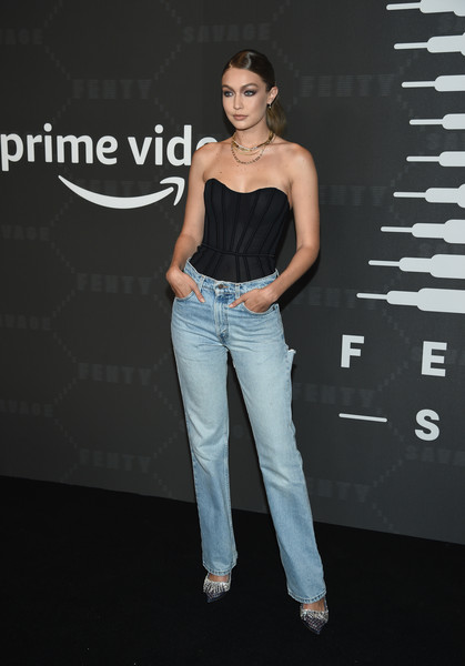 Gigi Hadid Classic Jeans [clothing,jeans,denim,fashion model,fashion,shoulder,beauty,waist,footwear,trousers,amazon prime,savage x fenty show,brooklyn,new york,barclays center,video - arrivals,gigi hadid]
