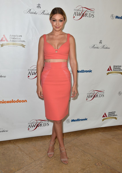 Gigi Hadid Crop Top [greater los angeles chapter of the american diabetes association,dress,clothing,cocktail dress,shoulder,pink,hairstyle,fashion,fashion model,joint,leg,the beverly hilton hotel,beverly hills,california,father of the year awards,gigi hadid]