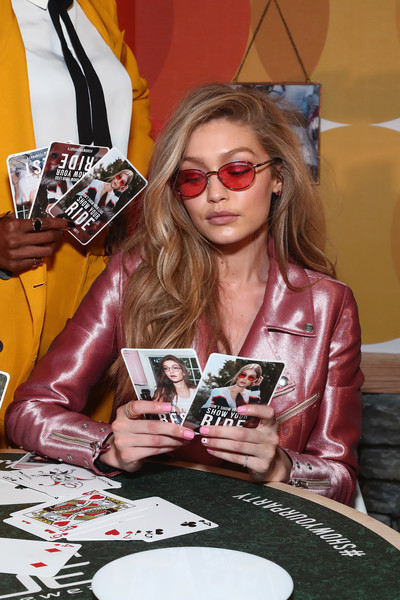 More Pics of Gigi Hadid Pantsuit (1 of 5) - Suits Lookbook - StyleBistro [eyewear,sunglasses,fashion,games,glasses,cool,leather,recreation,jacket,textile,gigi hadid,vogue eyewear showyourparty,new york city,industria superstudio,event,event]