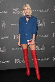 Ashley James ditched the pants, wearing only a denim shirt, when she attended the Gigi Hadid x Maybelline party.