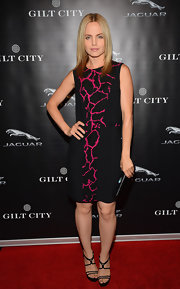 Mena chose this black and hot pink crackle-print cocktail dress for the Jaguar F-Type event in Hollywood.