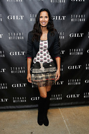 Padma Lakshmi celebrated the 5050 boot anniversary wearing this black suede pair.