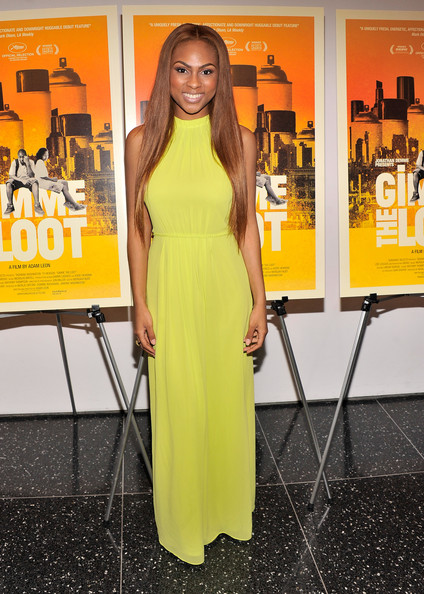 Tashiana Washington sported a vibrant yellow dress for her look at the 'Gimme the Loot' premiere in NYC,
