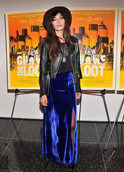 Rebecca Dayan sported a cool, distressed leather jacket for her quirky look at the 'Gimme the Loot' premiere.