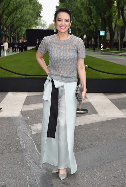 Zhang Ziyi was casual-chic in a gray knit top at the Giorgio Armani 40th anniversary reception.