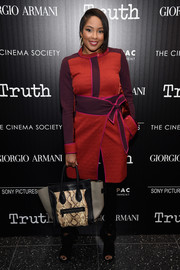 Alicia Quarles bundled up in fab style with this textured color-block coat for the screening of 'Truth.'