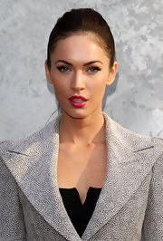 Megan showed off her perfect pout while attending the Giorgio Armani show in Milan.