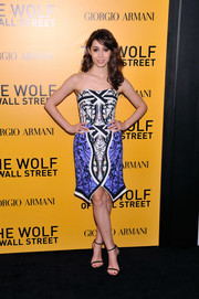Cristin Milioti looked modern and vibrant in her strapless Peter Pilotto print dress during the NYC premiere of 'The Wolf of Wall Street.'