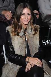 Olivia Palermo wore her hair long and sleek while attending the Giorgio Armani Prive fashion show in Paris.