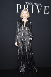 Cate Blanchett was all about easy sophistication in this printed, wide-leg jumpsuit during the Armani Prive fashion show.