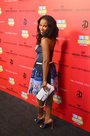 June Ambrose finished her movie screening look with a Chanel purse.