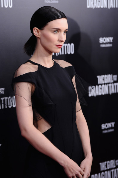 Rooney Mara wore her hair in a sleek low ponytail at the NYC premiere of 'The Girl With the Dragon Tattoo.'