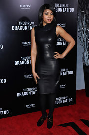 Taraji P. Henson wore a leather sheath dress with tights for the 'Girl With the Dragon Tattoo' New York premiere.