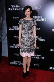 Embeth Davidtz wore a lacy cap-sleeve dress for the 'Girl With the Dragon Tattoo' New York premiere.
