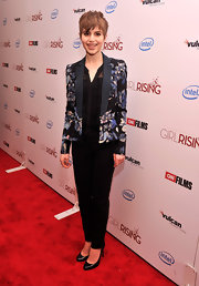 Sami Gayle's floral blazer added a soft feminine touch to her red carpet look at the 'Girl Rising' premiere in NYC.