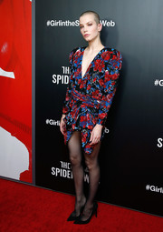 Sylvia Hoeks channeled the '80s in a bold-shouldered floral sequin dress by Saint Laurent at the New York screening of 'The Girl in the Spider's Web.'