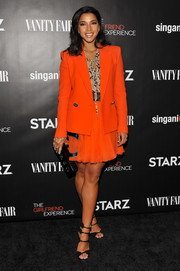Hannah Bronfman stood out at the New York premiere of 'The Girlfriend Experience' in a bright orange skirt suit.