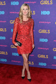 Nicky Hilton looked very feminine in a red lace cocktail dress by Dolce & Gabbana during the 'Girls' season 3 premiere.
