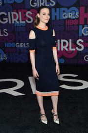 Gillian Jacobs teamed her dress with a lovely pair of strappy black-and-white mules.