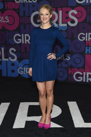 Marin Ireland showed off her toned legs in a blue skater dress during the 'Girls' season 4 premiere.