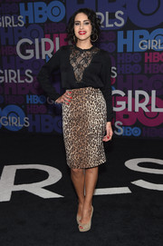 Desiree Akhavan looked subtly sexy at the 'Girls' season 4 premiere in a black blouse with a sheer lace panel down the front.