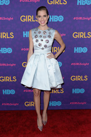 Allison Williams went the ultra-feminine route with this pale blue Christian Dior cocktail dress, featuring an embellished bodice and a fit-and-flare silhouette, during the 'Girls' season 3 premiere.