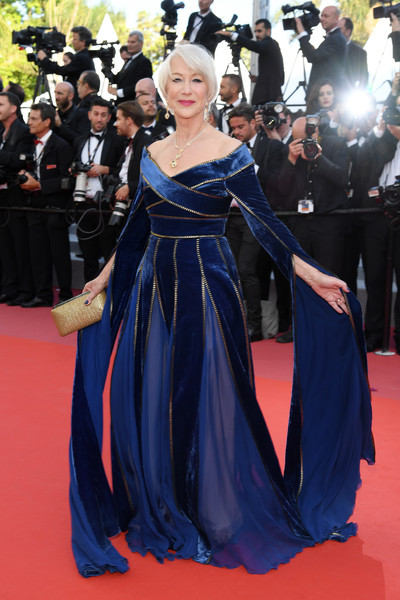 Helen Mirren looked downright regal in a cobalt velvet off-the-shoulder gown by Elie Saab Couture at the Cannes Film Festival screening of 'Girls of the Sun.'