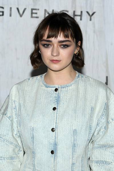 More Pics of Maisie Williams Leather Shoulder Bag (1 of 4) - Leather Shoulder Bag Lookbook - StyleBistro [hair,hairstyle,eyewear,bangs,eyebrow,lip,fashion,long hair,black hair,bob cut,summer 2020,maisie williams,front row,part,givenchy womenswear spring,paris,france,givenchy,paris fashion week,show]