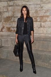 Lily Aldridge attended the Givenchy fashion show rocking a pair leather and denim pants from the label.