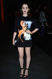 Lily Collins looked cute at the Givenchy fashion show in this Bambi-print sweater.