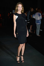 Natalia Vodianova looked classic and elegant in a little black dress during the Givenchy fashion show.