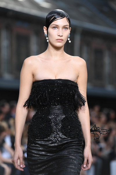 More Pics of Bella Hadid Strapless Dress (1 of 2) - Dresses & Skirts Lookbook - StyleBistro [fashion model,fashion,clothing,dress,haute couture,fashion show,shoulder,runway,beauty,hairstyle,bella hadid,spring,part,runway,summer 2017,paris,givenchy,givenchy menswear spring,paris fashion week,show]