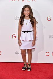 Emma Tremblay looked darling in her white peplum dress during the NYC premiere of 'The Giver.'