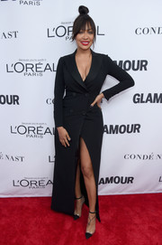 La La Anthony worked a cleavage-and-leg-baring tuxedo gown by Moschino at the 2017 Glamour Women of the Year Awards.