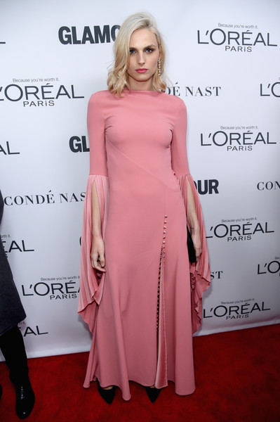 More Pics of Andreja Pejic Medium Wavy Cut (1 of 5) - Andreja Pejic Lookbook - StyleBistro [clothing,dress,shoulder,pink,hairstyle,fashion,joint,red carpet,fashion model,cocktail dress,arrivals,women of the year awards,andreja pejic,brooklyn,new york,kings theatre,glamour,glamour celebrates 2017 women of the year awards]