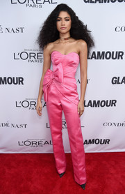 Zendaya Coleman went the ultra-sweet route in a strapless, bow-adorned pink jumpsuit by Viktor & Rolf at the 2017 Glamour Women of the Year Awards.