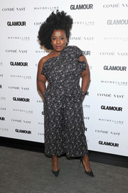 Uzo Aduba looked charming in a floral one-shoulder jumpsuit by Rebecca Taylor at the Girl Project event.